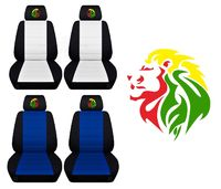 Two Front Seat Covers Fits a Toyota Corolla with an Embroidered Rasta Lion Side Airbag Friendly $89.99