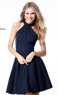 NAVY SHERRI HILL S51469 HALTER A LINE CUTOUT HOMECOMING DRESS SALE