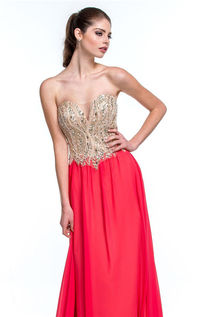 Terani Couture 151p0027 Coral Nude Beads Long Prom Dresses