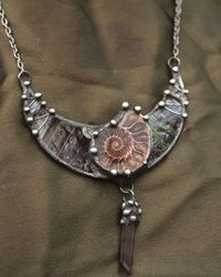 Stained Glass Pendant Crescent Moon with Natural Ammonite and Smoky Quartz, Lunula, lunar jewelry $34.00