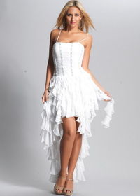 White Spaghetti Strap Pleated Top High-low Ruffled Prom Dress