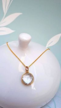 Crystal Quartz Gold Necklace, April Birthday, Anniversary Gift, Push Present, Birthday Gift, Christmas Gift for wife, mum or sister £32.00