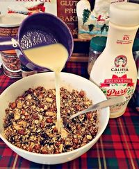 Granola and eggnog, the two things I can't get enough of. Granola eggnog? Now that is what I'm talking about!   I love making my own granola to throw on top of
