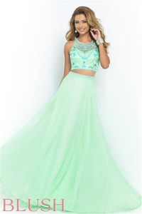 Blush 9916 Beaded Two Piece Long Prom Dresses 2015