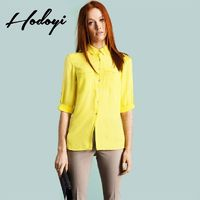 Vogue Simple Polo Collar 3/4 Sleeves Chiffon One Color Fall Casual Blouse - Bonny YZOZO Boutique Store