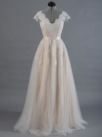 Lace A-line Wedding Dress with Cap Sleeves $179.98