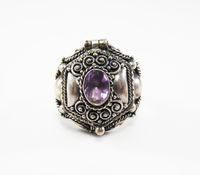 Sterling Silver & Amethyst Poison Ring Size 7 Marked 925 Bollywood Bali Style Vintage 1970s 1980s Hidden Compartment Jewelry Purple Gemstone $125.00