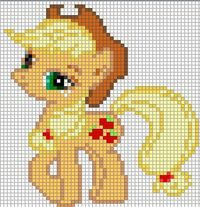 Free my little pony cross stitch | Applejack Sprite by ~Bobbeyjazz on deviantART