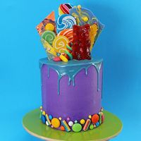 Wonka Candy Drip Cake CANDY + WONKA + GIANT GUMMY BEAR = LOVE Willy Wonka is one of my ALL TIME favourite movies and I've been wanting to make a Wonka Inspired Candy Cake for ages! So today, here it is!