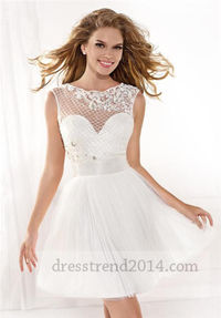 Cheap Ivory Sheer Cap Sleeves Short Prom Dresses 2014