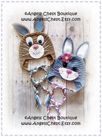 Cute Crochet Rabbit Bunny Beanie Earflap Hat PDF by AngelsChest, $6.99