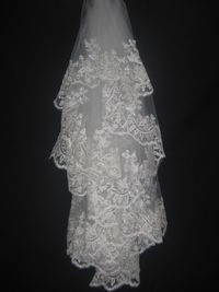 Faddish Elbow Wedding Veil With Lace Applique Edge