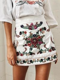 Vintage Embroidered Short Skirt Bottom $38.00