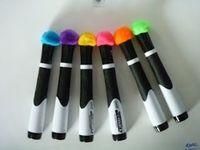 Pom-poms on dry erase markers! No more fighting for erasers.