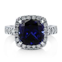 A Perfect Blue 6CT Cushion Cut Halo Russian Lab Diamond Engagement Ring $175.00