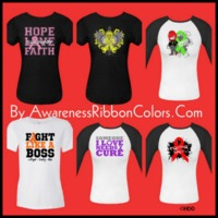 Cancer Awareness Ribbon shirts and gifts collage of our merchandise available at www.awarenessribboncolors.com