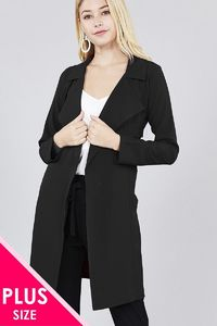 20% discount with BESTDEAL at checkout! Long Sleeve Notched Collar W/waist Belt Long Jacket $34.00