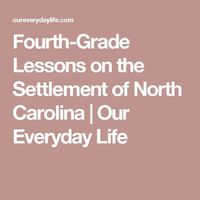 Fourth-Grade Lessons on the Settlement of North Carolina | Our Everyday Life