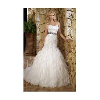 Sexy Trumpet/Mermaid Strapless Beading&Sequins Lace Cascading Ruffles Sweep/Brush Train Organza Wedding Dresses - Dressesular.com