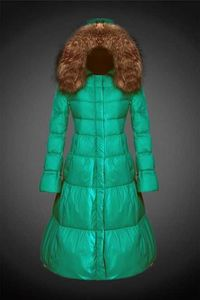 Buy For Women Green 2017 Y19 Fur Hooded Long Down Coat In Moncler Jackets monclersale.us.com