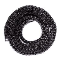"""Men's 1 Row Iced Out Black Plated Pharaoh 30"""" 6mm Hip Hop Bling Chain Necklace £24.95"""