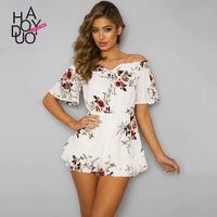 Printed Off-the-Shoulder High Waisted Summer Jumpsuit Short - Bonny YZOZO Boutique Store