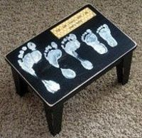 What an awesome idea: family footprints step stool