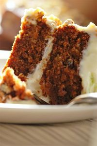 Checkout this homemade carrot cake recipe at LaaLoosh.com! Easy and delicious, each serving has just a 4 Point Total. This popular dessert recipe is sure to be