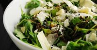 Checkout this easy and delicious low calorie salad recipe at LaaLoosh.com. This Arugula and Parmesan salad recipe is the perfect Weight Watchers side dish to se