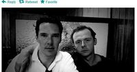 Benedict Cumberbatch and Simon Pegg. Zachary Quinto took this photo. So much win.