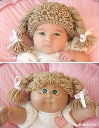 Crochet Cabbage Patch Doll Inspired Hat