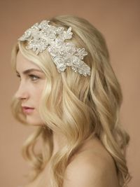 Handmade Ivory Lace Wedding Headband with Crystals & Beads $129.00