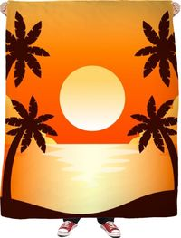 ROFB Sunset Palm Trees Fleece Blanket $65.00