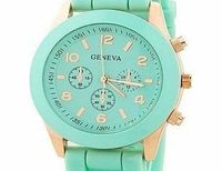 Geneva Ladiess Geneva ``Hot Sale 2013`` New Fashion Green Silicone Jelly Gel Analog Quartz Sports Wrist Wat Ladies geneva silicone jelly sports quartz wristwatch,stainless case,green rubber strap,hardlex dial window. The 3 sub dials are for decoration onl...