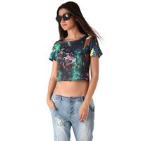 Crop top with illustrated print $25.00