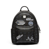 MCM Small Stark Victory Patch Visetos Backpack In Black