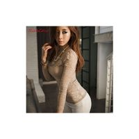 Night Club Vogue Sexy Slimming Scoop Neck Rose 9/10 Sleeves Lace Essential - Bonny YZOZO Boutique Store