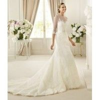 Exquisite A-line Sweetheart Floor-length Lace Wedding Dresses