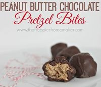 chocolate pretzels, peanut butter and holiday treats.