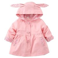 Spring Autumn Girls Windbreaker Coat Baby Girls Floral Hooded Outwear Kids Clothes Children's Rabbit Coats Jacket Clothing $23.79