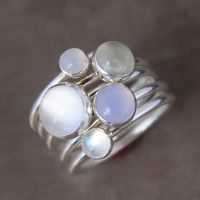 Luminous Gemstone Stacking Rings, Sterling Silver, Moonstone, Stackable Ring Set of 5 Rings $96