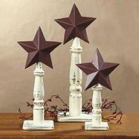 Rustic Americana Barn Stars On Spindles Western Table Or Mantel Decoration ~NEW~ on eBay!