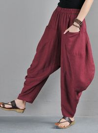 Gray linen harem pnts - Harem pants plus size - Turnip Pants - Balloon pants for women - Women pants - Drop crotch pants - Loose pants