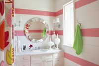 tongue and groove walls + pink stripes