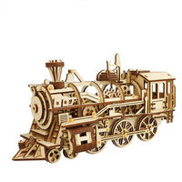 3D Assembly Wooden Puzzle Locomotive Kit Mechanical Gears Toys Brain Teaser Games Best Birthday Gift