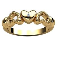 18k Gold Plated Silver Or Polished 925 Sterling Silver Array Of Hearts Lovers Ring With Diamond Accent: Jewelry