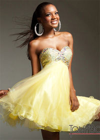 Short Yellow Beaded Tulle Empire Prom Dress