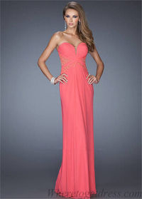 Long Hot Coral Ruched La Femme 19889 Lace Prom Gowns 2015