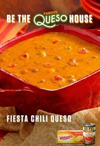 Wow your guests with cheesy, flavorful goodness! Just combine chili with the one-two kick of RO*TEL's diced tomatoes and spicy green chilies with creamy Liquid Gold VELVEETA. Are you ready to turn your house into a Famous Queso House? Get the Famous...