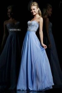 Long Periwinkle Beaded Sherri Hill 1944 Long Prom Dresses